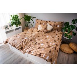 3 dílné povlečení bavlna Stromy hnědé