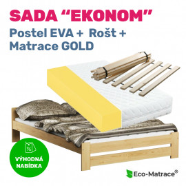 Set EKONOM: postel Eva, rošt a matrace Gold 15
