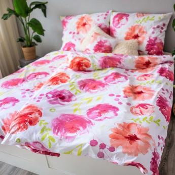 3 dílné ložní povlečení bavlna Flores Pink jednolůžko 100% bavlna